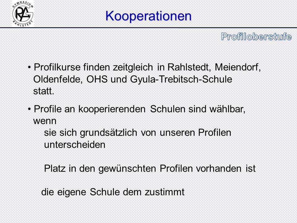 Kooperationen Profilkurse finden zeitgleich in Rahlstedt, Meiendorf, Oldenfelde, OHS und Gyula-Trebitsch-Schule statt. Profile an kooperierenden Schul