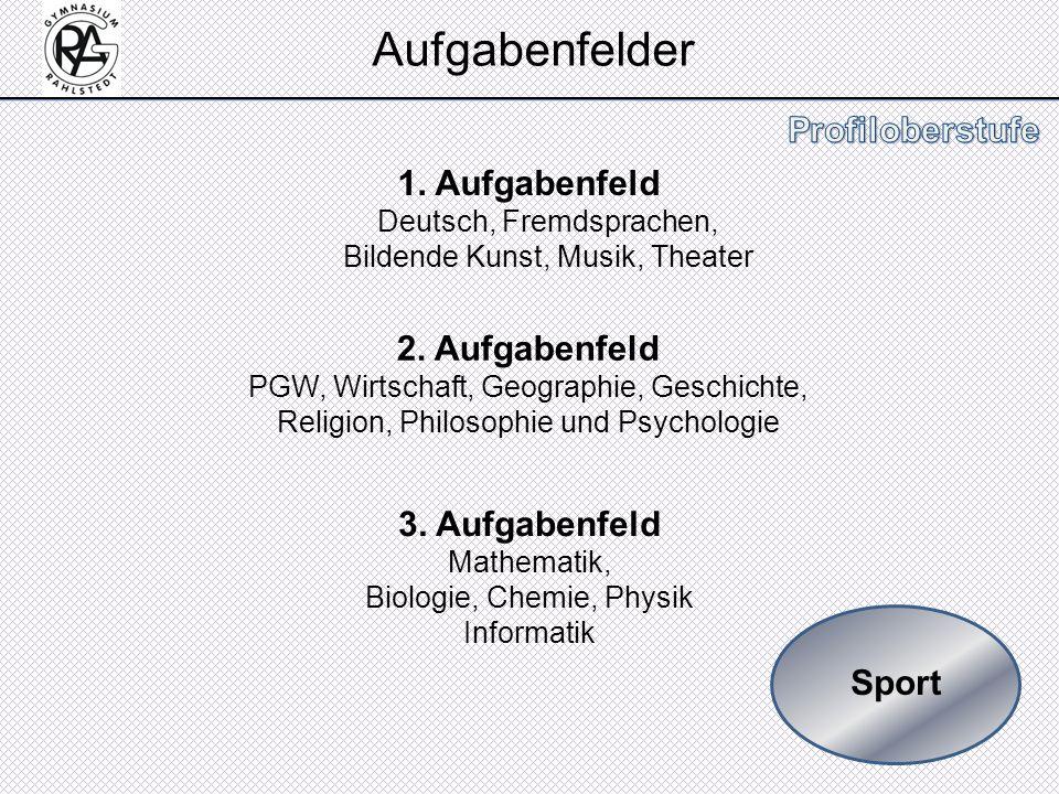 Sport 1. Aufgabenfeld Deutsch, Fremdsprachen, Bildende Kunst, Musik, Theater 2. Aufgabenfeld PGW, Wirtschaft, Geographie, Geschichte, Religion, Philos