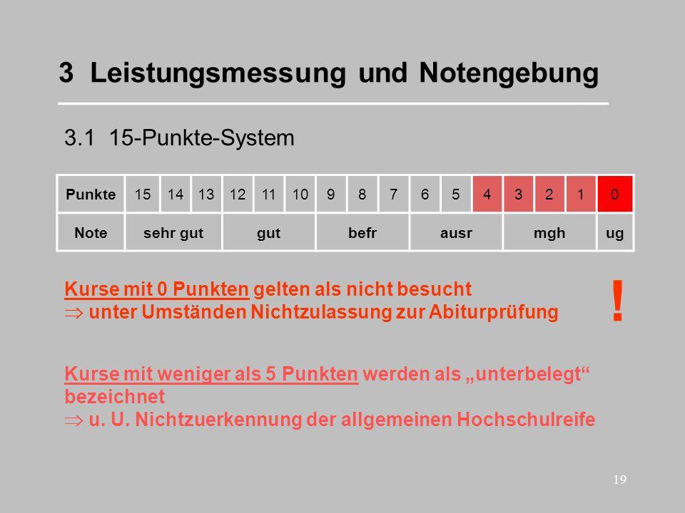 19 3 Leistungsmessung und Notengebung ___________________________________ 3.1 15-Punkte-System Punkte1514131211109876543210 Notesehr gutgutbefrausrmgh