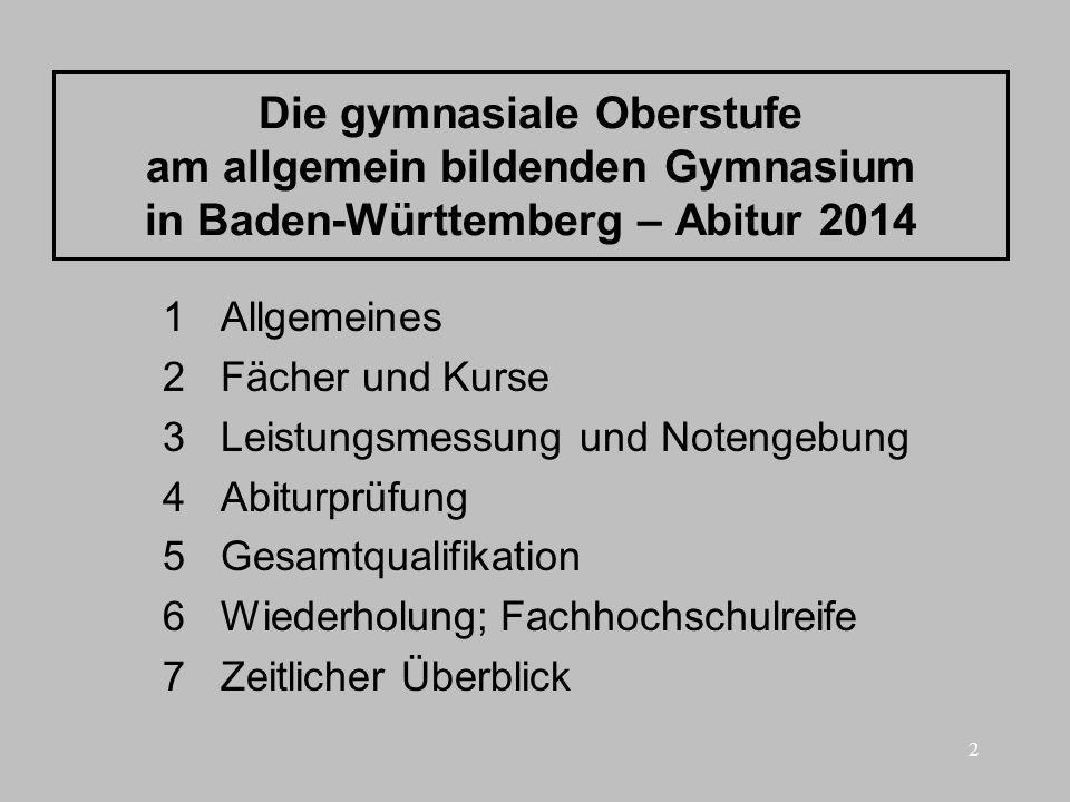 2 Die gymnasiale Oberstufe am allgemein bildenden Gymnasium in Baden-Württemberg – Abitur 2014 1 Allgemeines 2 Fächer und Kurse 3 Leistungsmessung und
