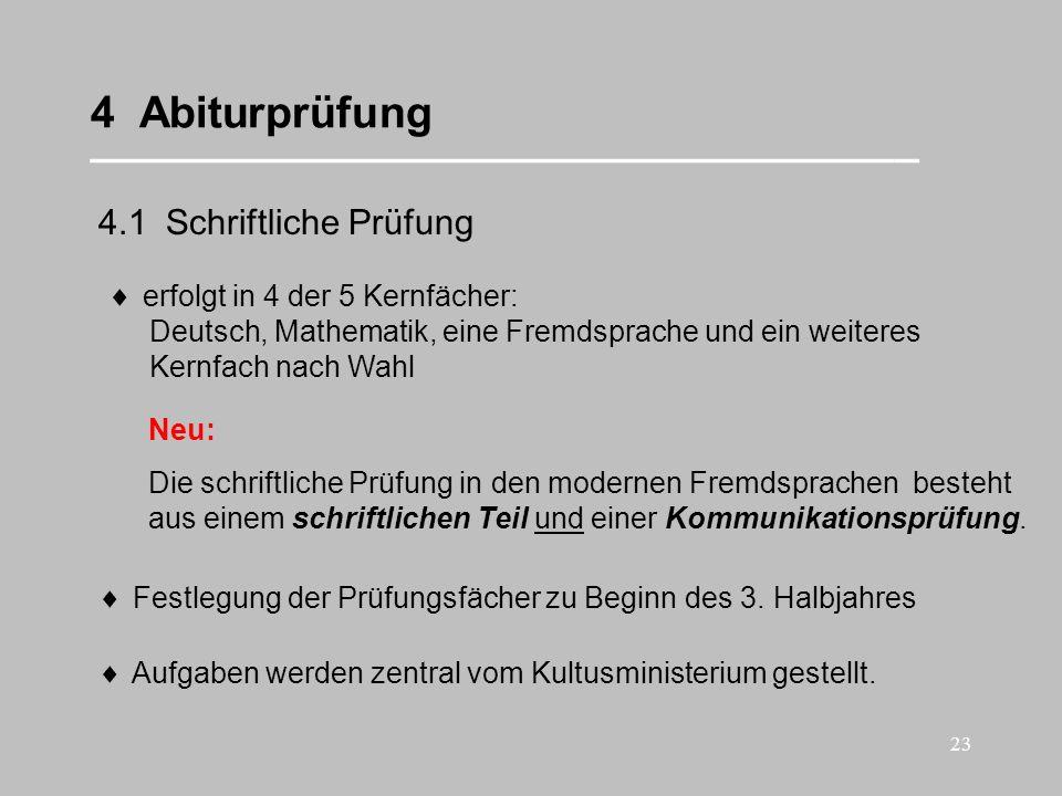 23 4 Abiturprüfung __________________________________ 4.1 Schriftliche Prüfung erfolgt in 4 der 5 Kernfächer: Deutsch, Mathematik, eine Fremdsprache u