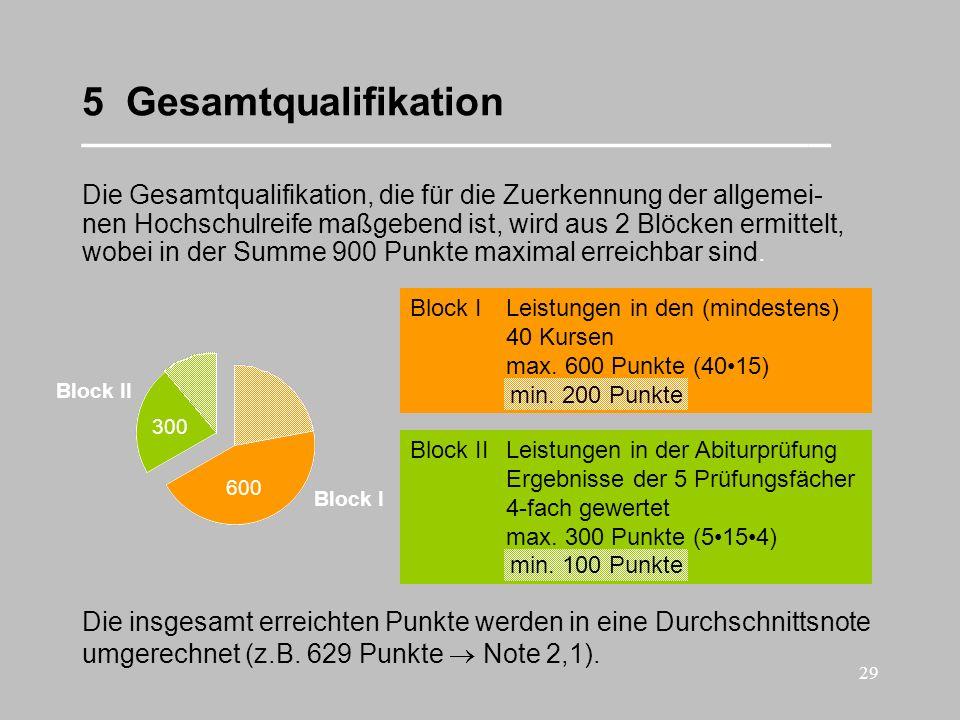 29 5 Gesamtqualifikation __________________________________ Die Gesamtqualifikation, die für die Zuerkennung der allgemei- nen Hochschulreife maßgeben