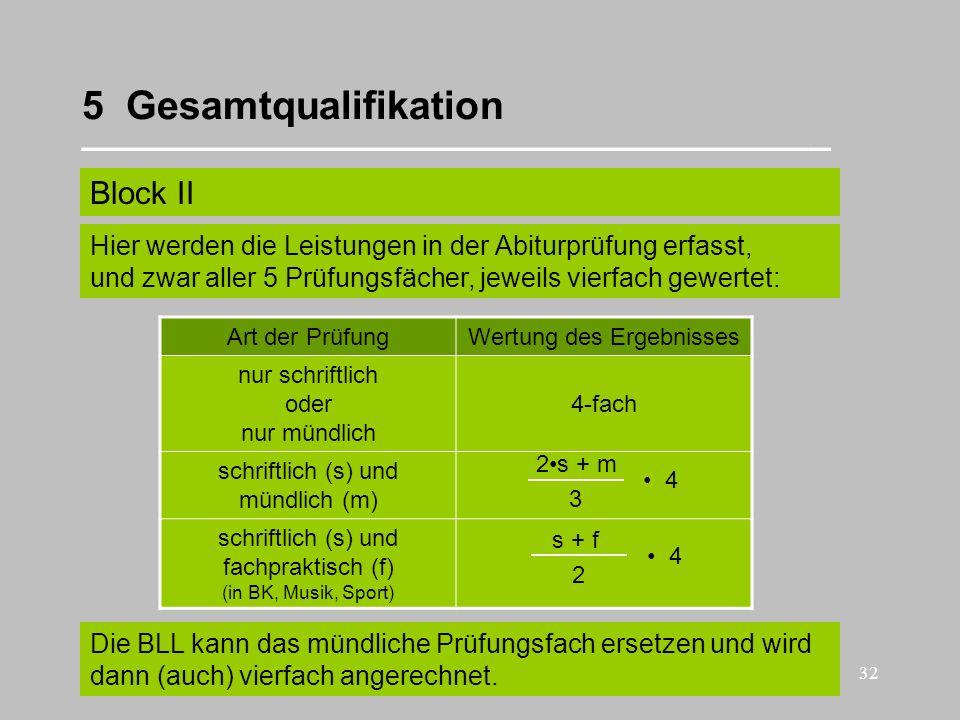 32 5 Gesamtqualifikation __________________________________ Block II Art der PrüfungWertung des Ergebnisses nur schriftlich oder nur mündlich 4-fach s