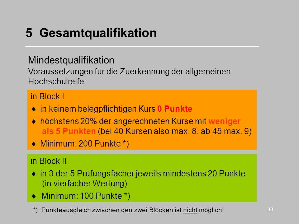 33 5 Gesamtqualifikation __________________________________ Mindestqualifikation in Block II in Block I Voraussetzungen für die Zuerkennung der allgem