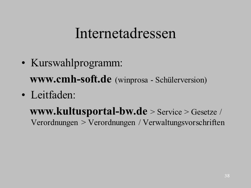 38 Internetadressen Kurswahlprogramm: www.cmh-soft.de (winprosa - Schülerversion) Leitfaden: www.kultusportal-bw.de > Service > Gesetze / Verordnungen