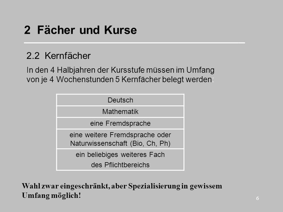 17 2 Fächer und Kurse __________________________________ Summe: 32 Stunden Beispiel 1: Kernfächer Deutsch Mathematik Englisch Französisch Geschichte 20 Stunden Bildende Kunst Gk bzw.