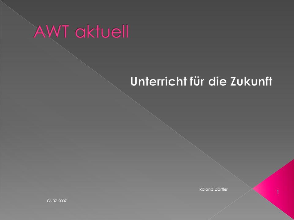 06.07.2007 21 Roland Dörfler - das Projekt wird an 25 Schulen in Bayern durchgeführt - Ziele des Projekts: Schüler ausbildungsreif machen Anlagen der Schüler optimal fördern Um dies zu erreichen, arbeiten wir bisher eng mit der HWK und dem Staatsinstitut für Schulqualität und Bildungsforschung zusammen.