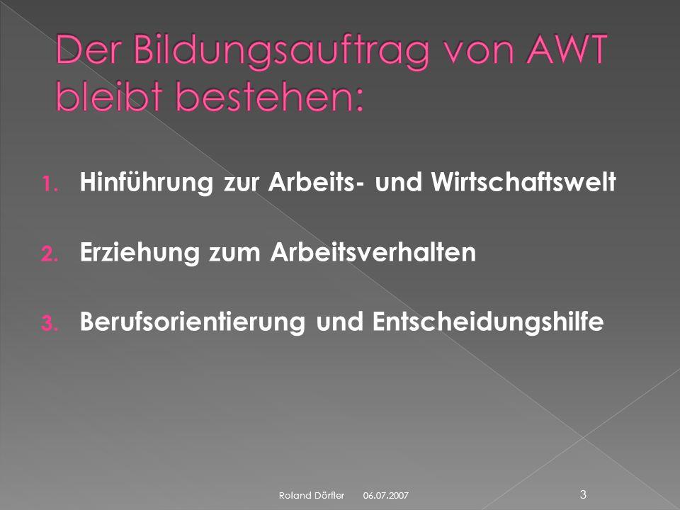 Roland Dörfler 2 AWT spielt also auch bei der Profilbildung eine führende Rolle! Denn die Profilbildung betrifft ja gerade die Bereiche, für die AWT B