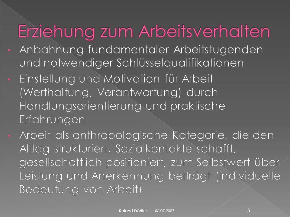 06.07.2007 25 Roland Dörfler der Kernunterricht wird auf vier Wochentage verteilt ein Tag ist Berufsvorbereitungs- und Praktikumstag Modul Bewerbungsschreiben mögliche Organisation am Praktikumstag: Sept.