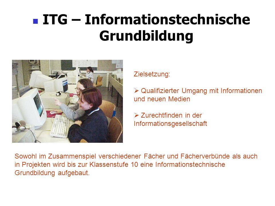 ITG – Informationstechnische Grundbildung Zielsetzung: Qualifizierter Umgang mit Informationen und neuen Medien Zurechtfinden in der Informationsgesel