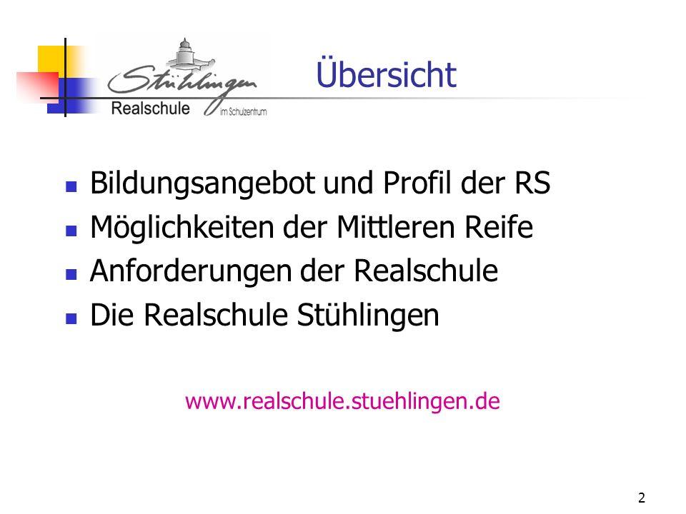 2 Übersicht Bildungsangebot und Profil der RS Möglichkeiten der Mittleren Reife Anforderungen der Realschule Die Realschule Stühlingen www.realschule.