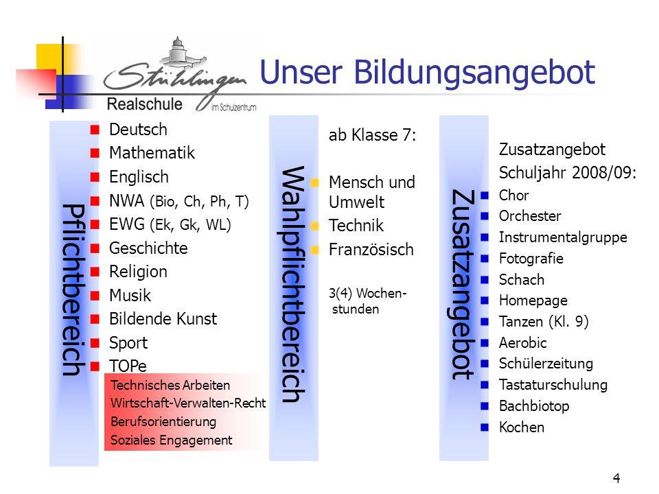 4 Unser Bildungsangebot Pflichtbereich Zusatzangebot Deutsch Mathematik Englisch NWA (Bio, Ch, Ph, T) EWG (Ek, Gk, WL) Geschichte Religion Musik Bilde
