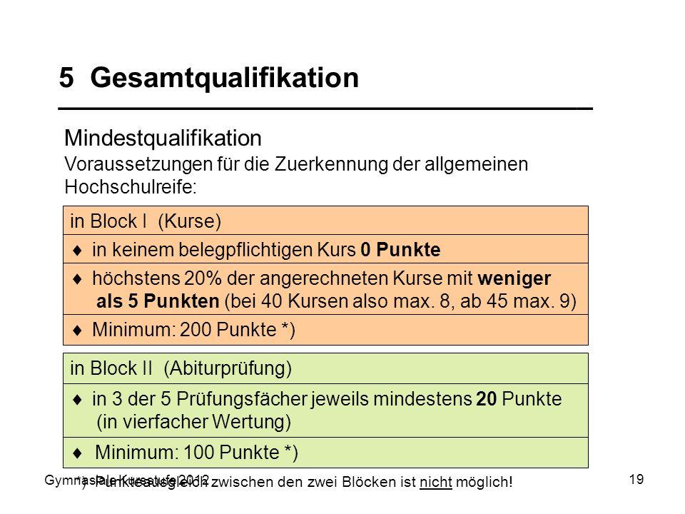 Gymnasiale Kursstufe 2012 19 5 Gesamtqualifikation __________________________________ Mindestqualifikation in Block II (Abiturprüfung) in Block I (Kur