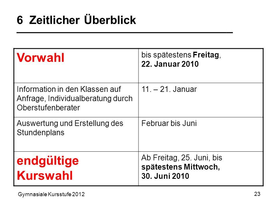 Gymnasiale Kursstufe 2012 23 6 Zeitlicher Überblick __________________________________ Vorwahl bis spätestens Freitag, 22. Januar 2010 Information in
