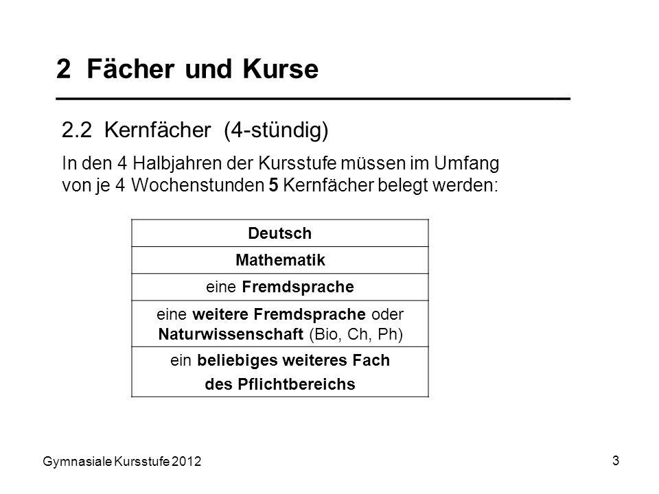 Gymnasiale Kursstufe 2012 3 2 Fächer und Kurse __________________________________ 2.2 Kernfächer (4-stündig) Deutsch Mathematik eine Fremdsprache eine