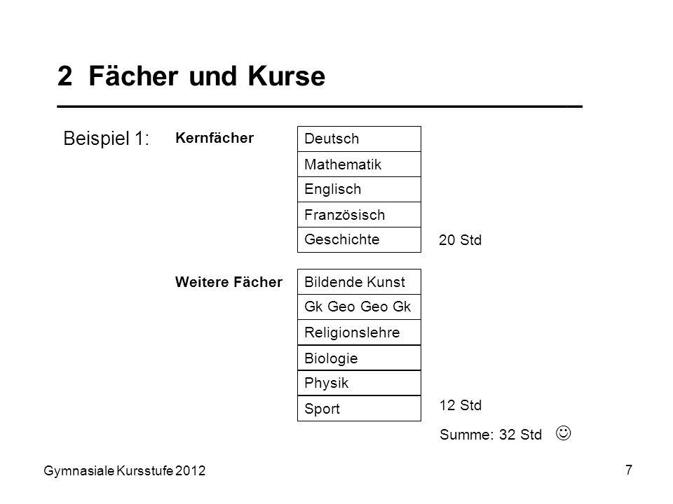 Gymnasiale Kursstufe 2012 7 2 Fächer und Kurse __________________________________ Summe: 32 Std Beispiel 1: Kernfächer Deutsch Mathematik Englisch Fra
