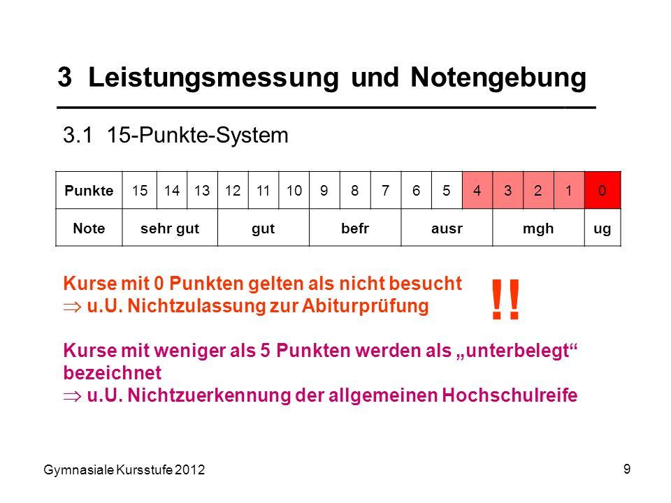 Gymnasiale Kursstufe 2012 9 3 Leistungsmessung und Notengebung ___________________________________ 3.1 15-Punkte-System Punkte1514131211109876543210 N