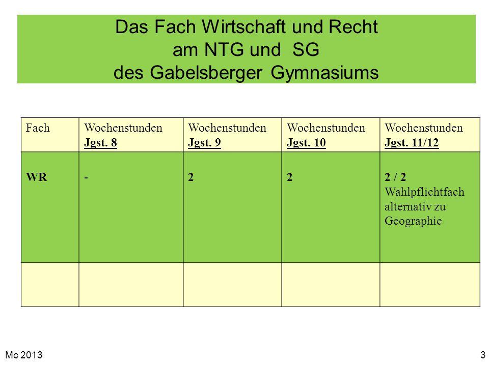 Mc 20133 Das Fach Wirtschaft und Recht am NTG und SG des Gabelsberger Gymnasiums FachWochenstunden Jgst. 8 Wochenstunden Jgst. 9 Wochenstunden Jgst. 1