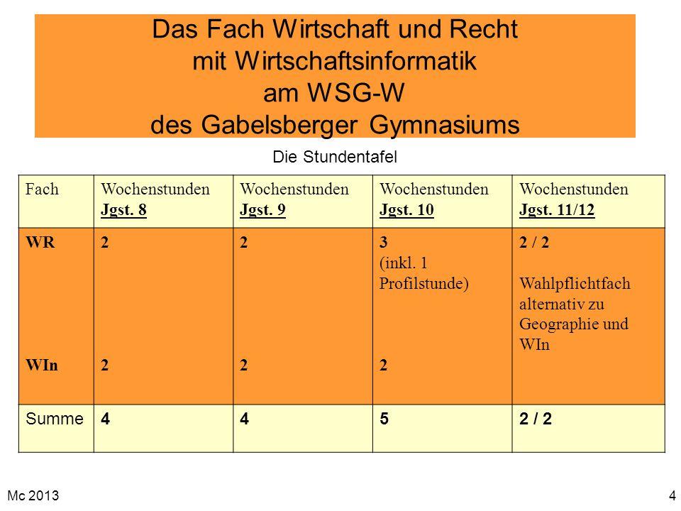 Mc 20134 Das Fach Wirtschaft und Recht mit Wirtschaftsinformatik am WSG-W des Gabelsberger Gymnasiums FachWochenstunden Jgst. 8 Wochenstunden Jgst. 9