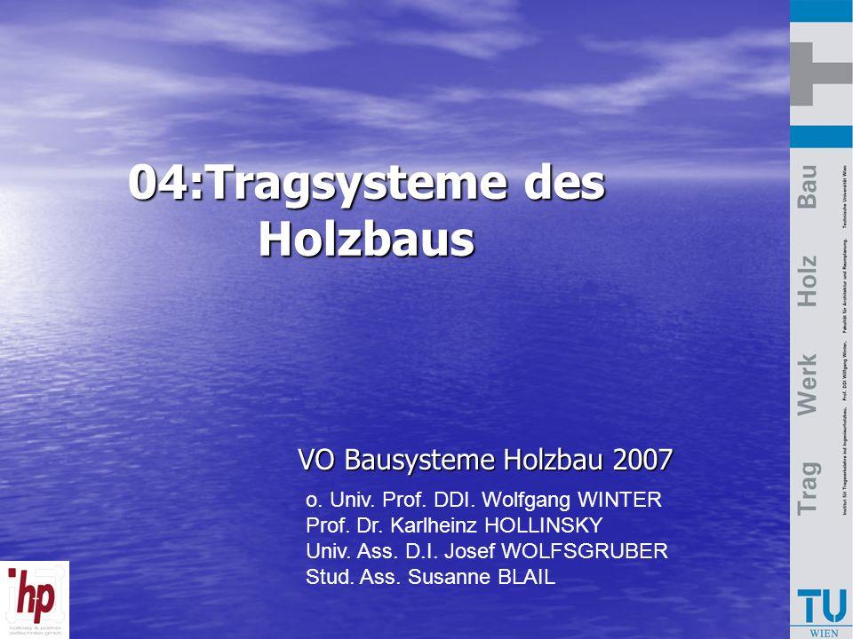 04:Tragsysteme des Holzbaus VO Bausysteme Holzbau 2007 VO Bausysteme Holzbau 2007 o. Univ. Prof. DDI. Wolfgang WINTER Prof. Dr. Karlheinz HOLLINSKY Un
