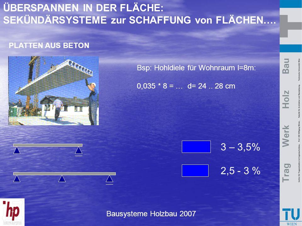 Bausysteme Holzbau 2007 PLATTEN AUS BETON 3 – 3,5% 2,5 - 3 % ÜBERSPANNEN IN DER FLÄCHE: SEKÜNDÄRSYSTEME zur SCHAFFUNG von FLÄCHEN…. Bsp: Hohldiele für