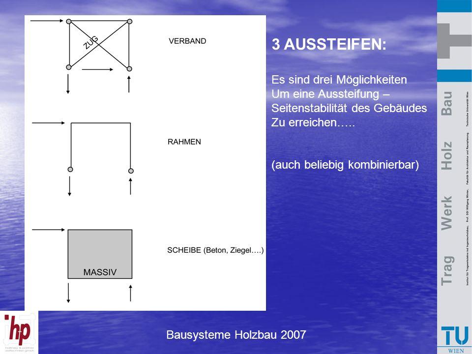 3 AUSSTEIFEN: Es sind drei Möglichkeiten Um eine Aussteifung – Seitenstabilität des Gebäudes Zu erreichen….. (auch beliebig kombinierbar)