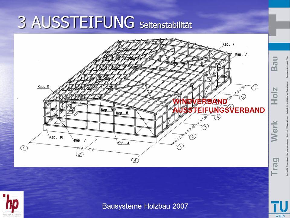 Bausysteme Holzbau 2007 3 AUSSTEIFUNG Seitenstabilität WINDVERBAND AUSSTEIFUNGSVERBAND