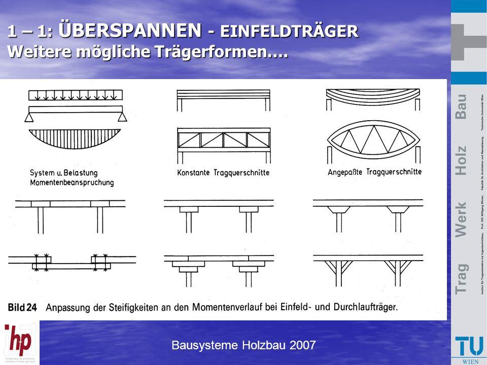 Bausysteme Holzbau 2007 1 – 1: ÜBERSPANNEN - EINFELDTRÄGER Weitere mögliche Trägerformen….