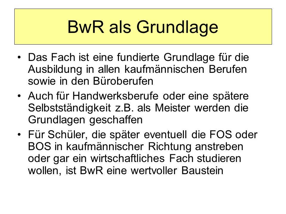 Gruppenspezifische Fächer BwR : Betriebswirtschaftslehre und Rechnungswesen ab Jgst.