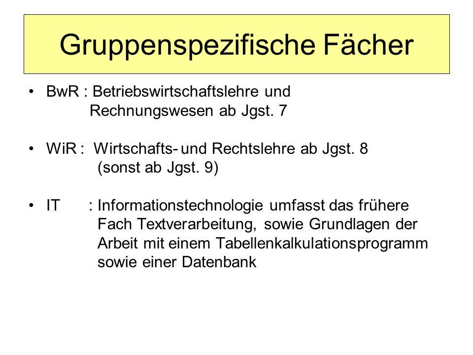 Gruppenspezifische Fächer BwR : Betriebswirtschaftslehre und Rechnungswesen ab Jgst. 7 WiR : Wirtschafts- und Rechtslehre ab Jgst. 8 (sonst ab Jgst. 9
