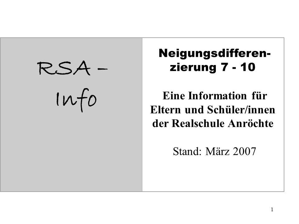 1 RSA – Info Neigungsdifferen- zierung 7 - 10 Eine Information für Eltern und Schüler/innen der Realschule Anröchte Stand: März 2007