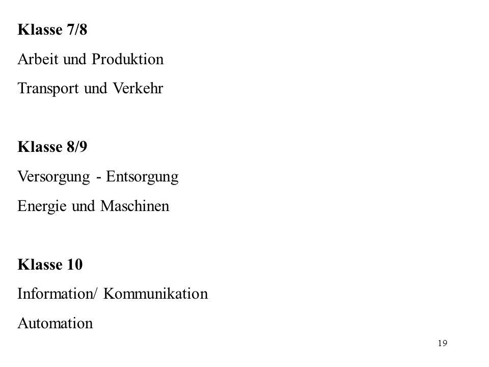 19 Klasse 7/8 Arbeit und Produktion Transport und Verkehr Klasse 8/9 Versorgung - Entsorgung Energie und Maschinen Klasse 10 Information/ Kommunikatio