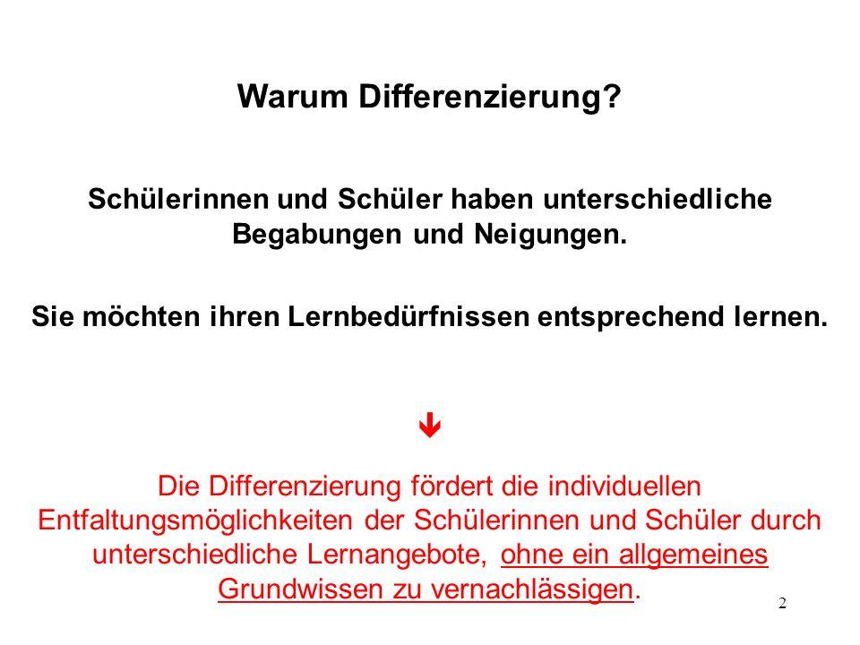 2 Warum Differenzierung? Schülerinnen und Schüler haben unterschiedliche Begabungen und Neigungen. Sie möchten ihren Lernbedürfnissen entsprechend ler