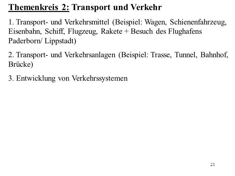 21 Themenkreis 2: Transport und Verkehr 1. Transport- und Verkehrsmittel (Beispiel: Wagen, Schienenfahrzeug, Eisenbahn, Schiff, Flugzeug, Rakete + Bes