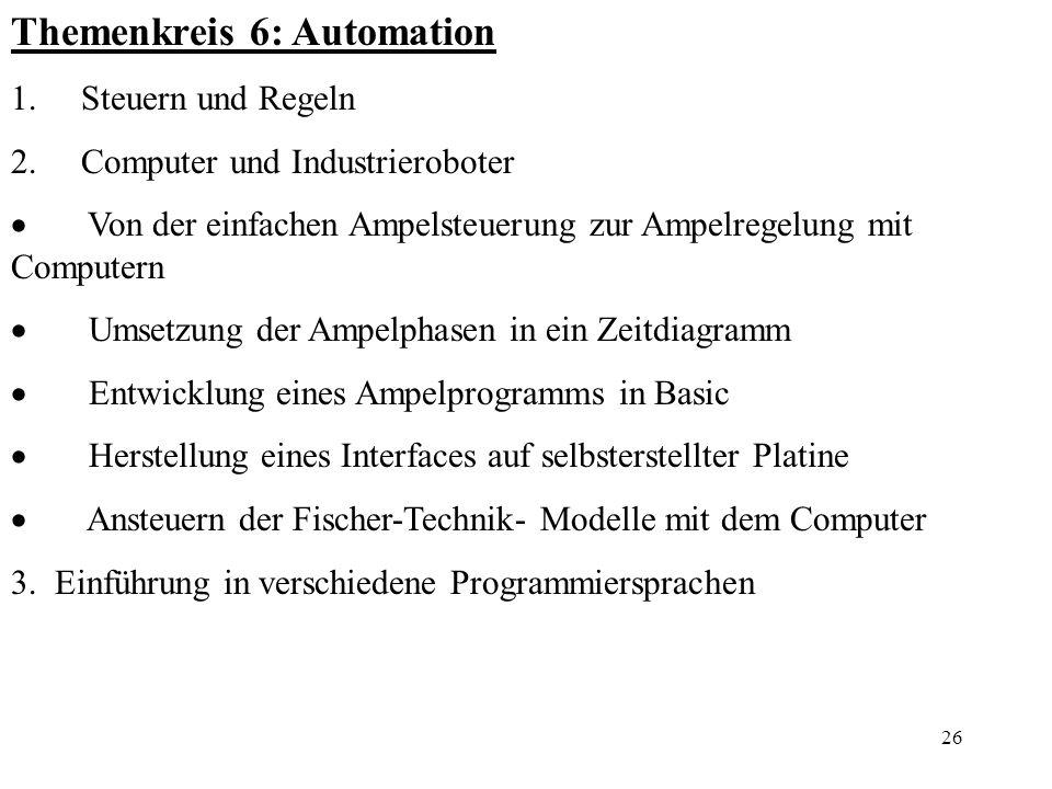 26 Themenkreis 6: Automation 1. Steuern und Regeln 2. Computer und Industrieroboter Von der einfachen Ampelsteuerung zur Ampelregelung mit Computern U