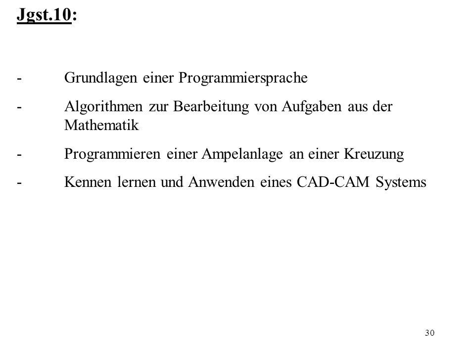30 Jgst.10: -Grundlagen einer Programmiersprache -Algorithmen zur Bearbeitung von Aufgaben aus der Mathematik -Programmieren einer Ampelanlage an eine