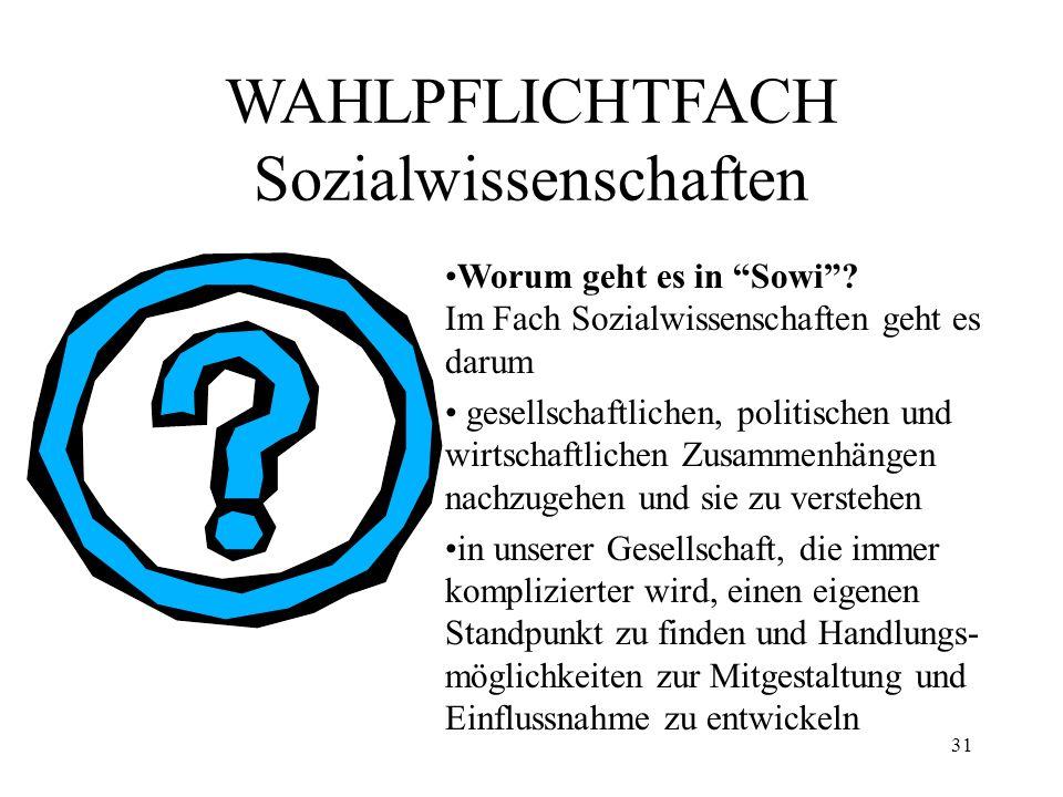 31 WAHLPFLICHTFACH Sozialwissenschaften Worum geht es in Sowi? Im Fach Sozialwissenschaften geht es darum gesellschaftlichen, politischen und wirtscha