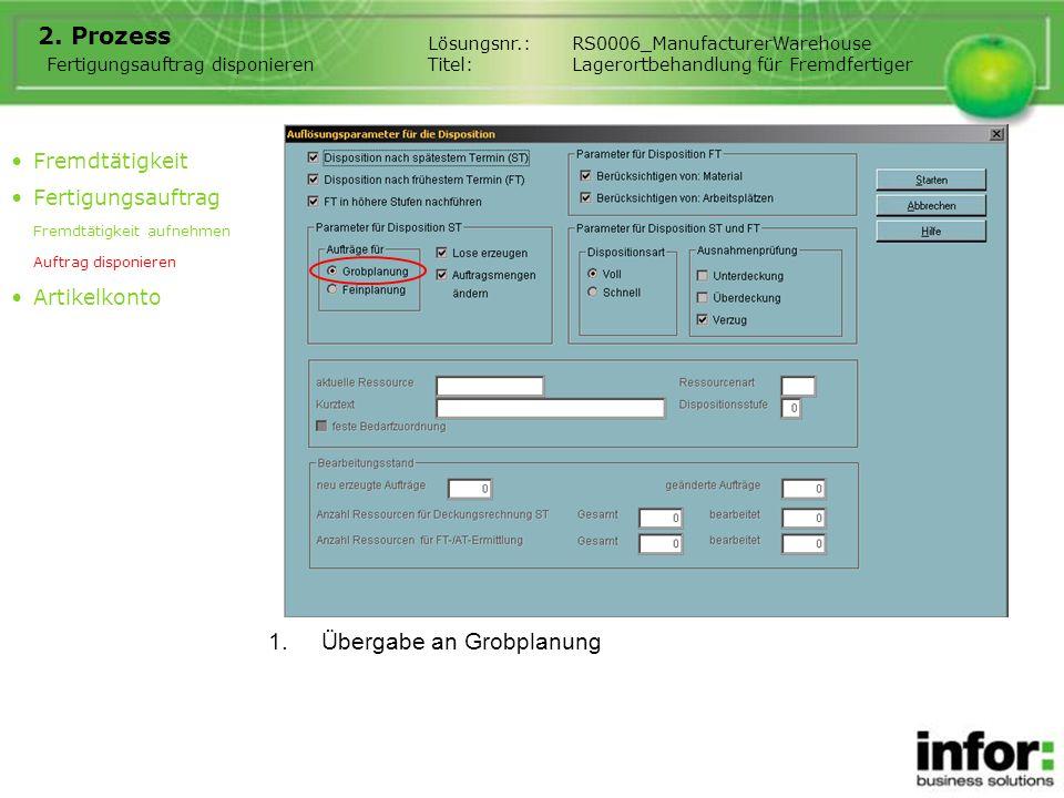 1.Übergabe an Grobplanung 2. Prozess Fertigungsauftrag disponieren Lösungsnr.:RS0006_ManufacturerWarehouse Titel:Lagerortbehandlung für Fremdfertiger