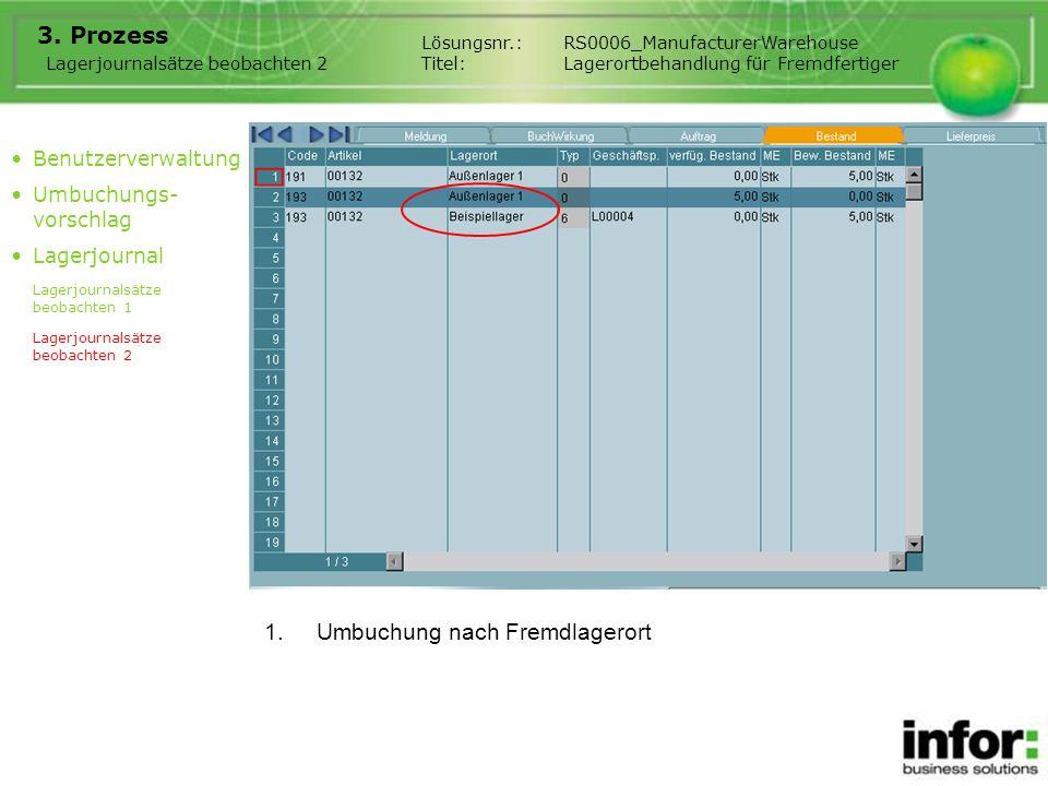 1.Umbuchung nach Fremdlagerort 3. Prozess Lagerjournalsätze beobachten 2 Lösungsnr.:RS0006_ManufacturerWarehouse Titel:Lagerortbehandlung für Fremdfer