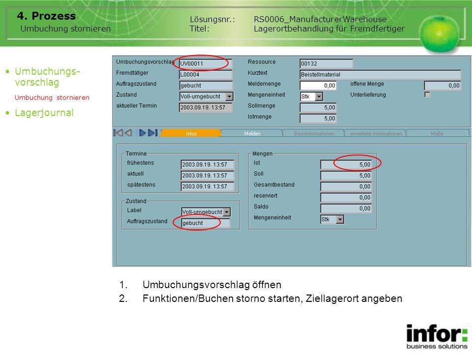 1.Umbuchungsvorschlag öffnen 4. Prozess Umbuchung stornieren Lösungsnr.:RS0006_ManufacturerWarehouse Titel:Lagerortbehandlung für Fremdfertiger Umbuch