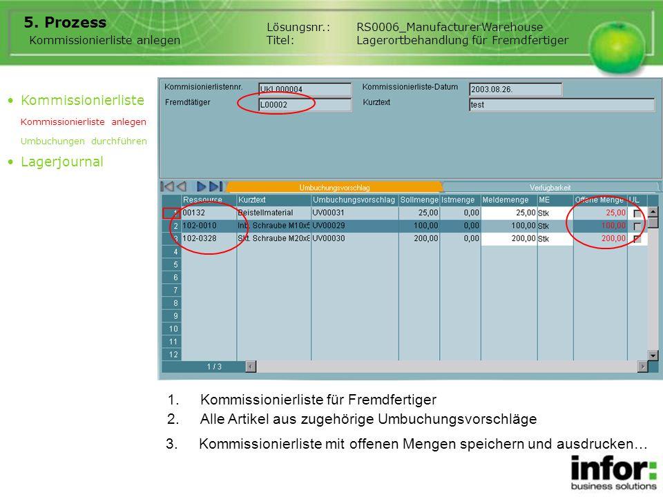 1.Kommissionierliste für Fremdfertiger 5. Prozess Kommissionierliste anlegen Lösungsnr.:RS0006_ManufacturerWarehouse Titel:Lagerortbehandlung für Frem