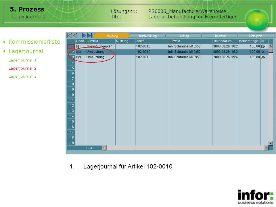 1.Lagerjournal für Artikel 102-0010 5. Prozess Lagerjournal 2 Lösungsnr.:RS0006_ManufacturerWarehouse Titel:Lagerortbehandlung für Fremdfertiger Kommi