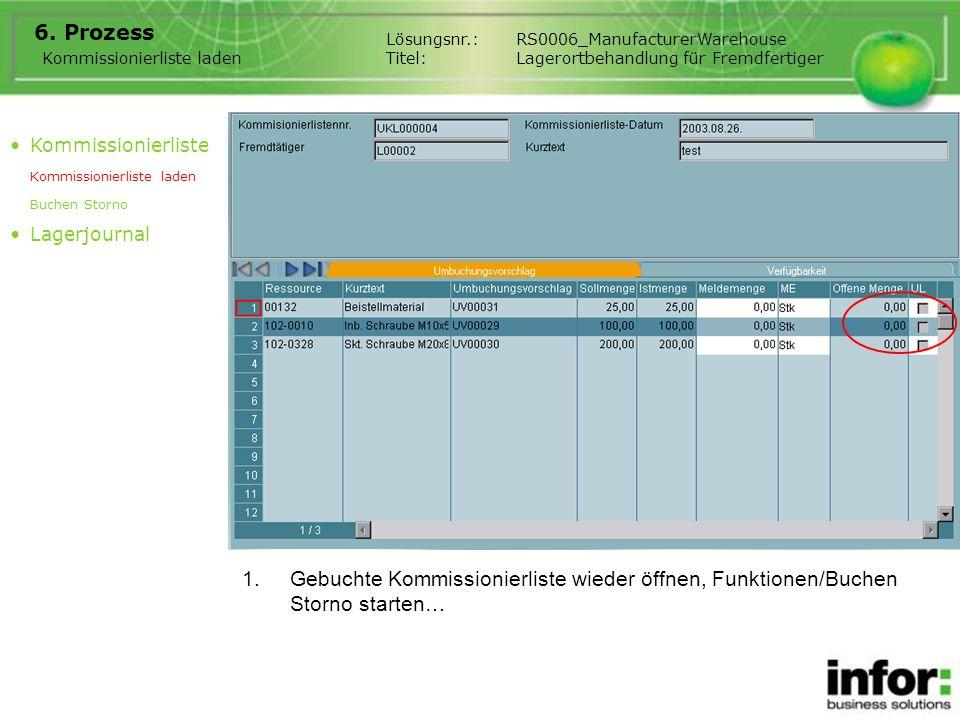 1.Gebuchte Kommissionierliste wieder öffnen, Funktionen/Buchen Storno starten… 6. Prozess Kommissionierliste laden Lösungsnr.:RS0006_ManufacturerWareh