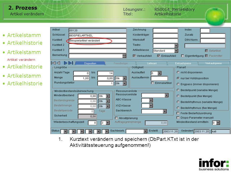1.Kurztext verändern und speichern (DbPart.KTxt ist in der Aktivitätssteuerung aufgenommen!) 2. Prozess Artikelstamm Artikelhistorie Artikelstamm Arti