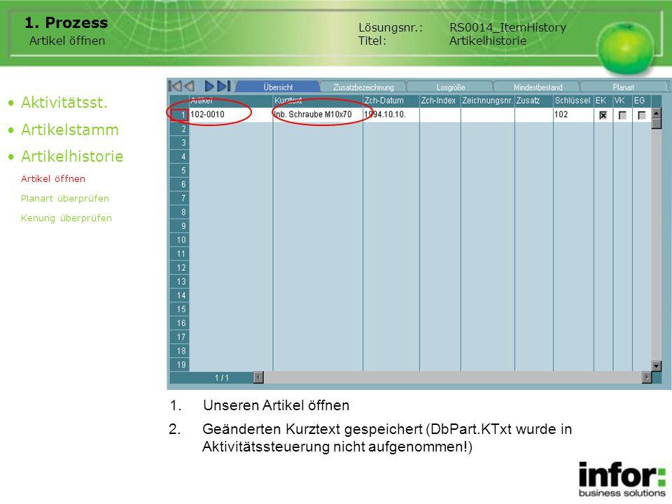 1.Unseren Artikel öffnen 1. Prozess Aktivitätsst. Artikelstamm Artikelhistorie Artikel öffnen Planart überprüfen Kenung überprüfen Artikel öffnen 2.Ge