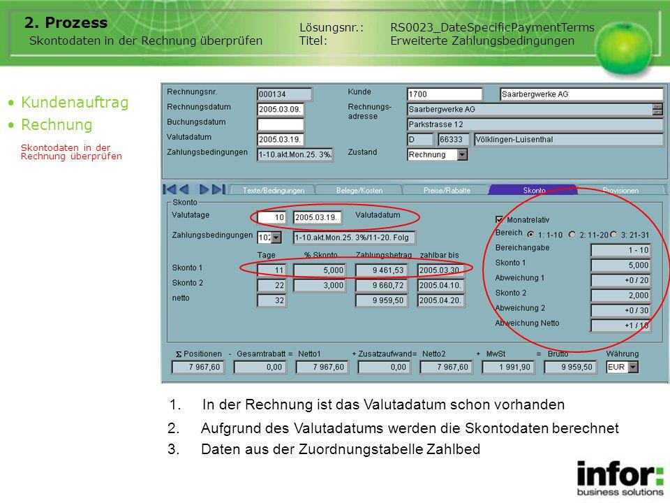 1.In der Rechnung ist das Valutadatum schon vorhanden 2. Prozess Kundenauftrag Rechnung Skontodaten in der Rechnung überprüfen Lösungsnr.:RS0023_DateS