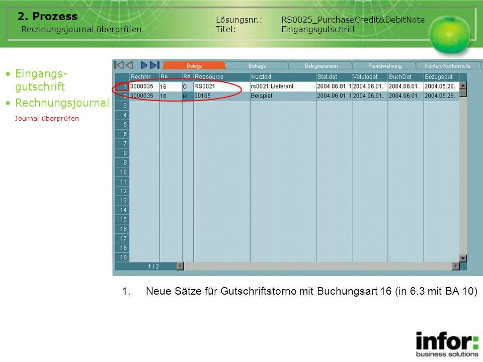 1.Neue Sätze für Gutschriftstorno mit Buchungsart 16 (in 6.3 mit BA 10) Eingangs- gutschrift Rechnungsjournal Journal überprüfen Rechnungsjournal über