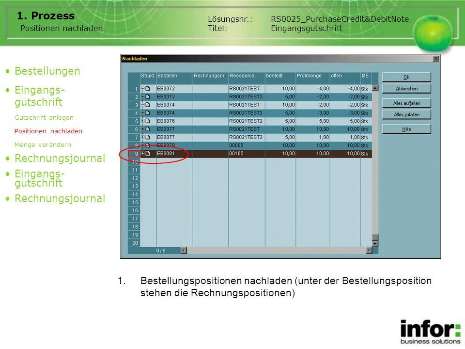 1.Bestellungspositionen nachladen (unter der Bestellungsposition stehen die Rechnungspositionen) 1. Prozess Positionen nachladen Bestellungen Eingangs