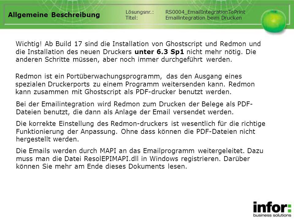 Allgemeine Beschreibung Redmon ist ein Portüberwachungsprogramm, das den Ausgang eines spezialen Druckerports zu einem Programm weitersenden kann. Red