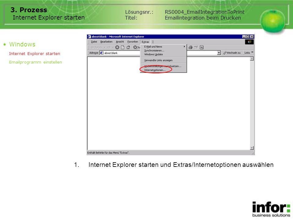 Internet Explorer starten 3. Prozess 1.Internet Explorer starten und Extras/Internetoptionen auswählen Windows Internet Explorer starten Emailprogramm